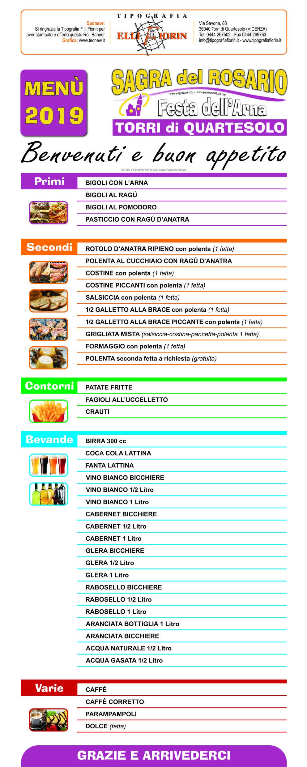 menu stand gastronomico sagra torri di quartesolo